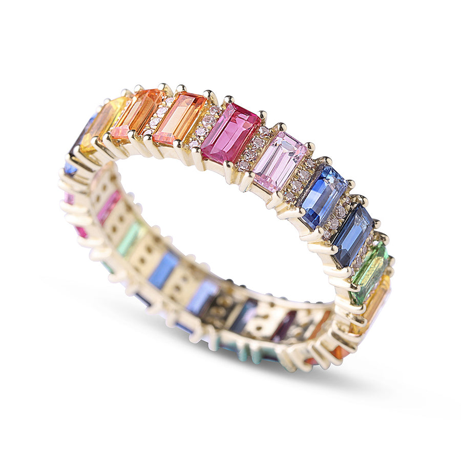 IN STOCK - RAINBOW SAPPHIRE EMERALD CUT WITH DIAMOND ETERNITY BAND