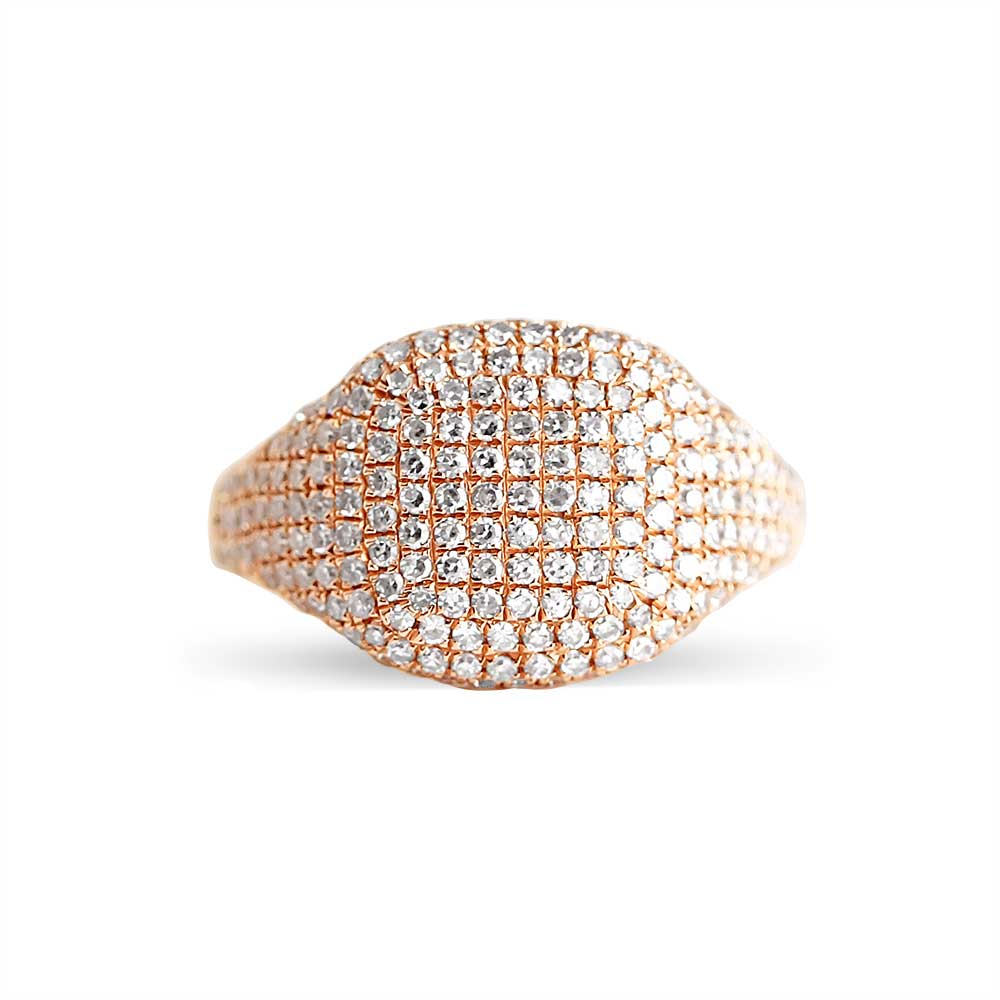 pave diamond signet ring