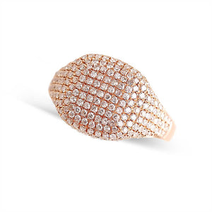 rose gold pave diamond signet ring