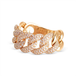 CHUNKY DIAMOND CUBAN LINK RING
