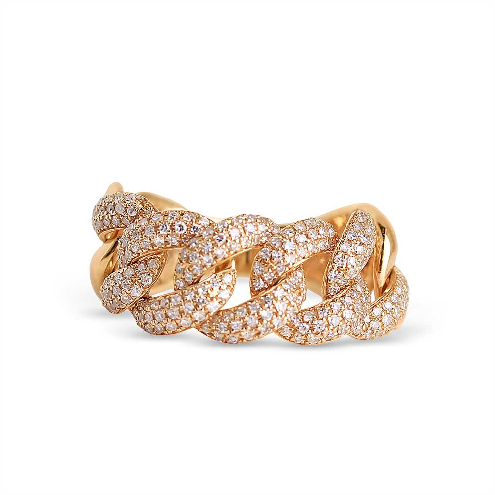 IN STOCK - CHUNKY PAVÉ DIAMOND CHAIN LINK RING