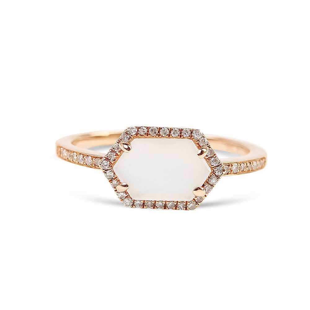 MOONSTONE AND PAVÉ DIAMOND RING