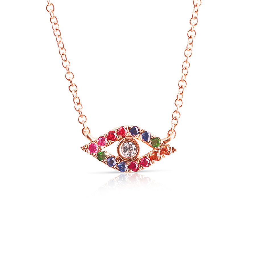 Rainbow sapphire evil eye necklace with diamond eye