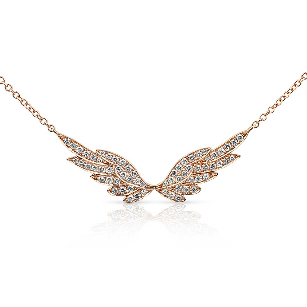 ROSE GOLD PAVE DIAMOND ANGEL WING NECKLACE