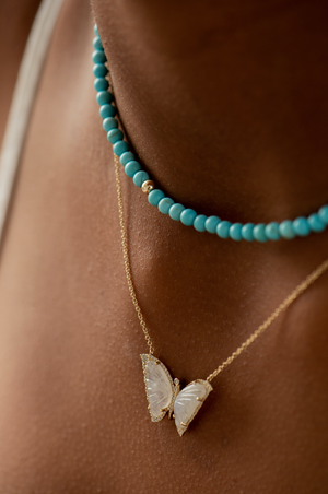 MOONSTONE AND DIAMOND BUTTERFLY NECKLACE