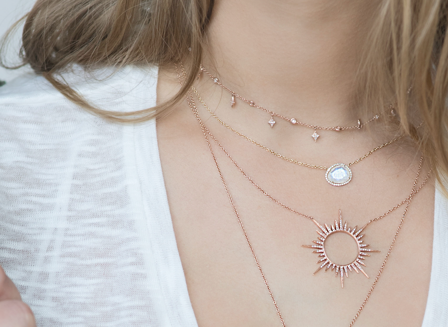 DIAMOND OPEN SUN NECKLACE