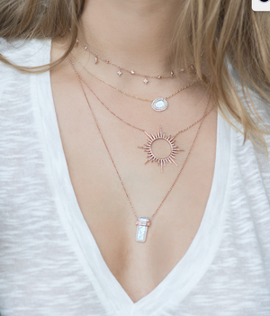 MOONSTONE PENDANT NECKLACE WITH PAVÉ DIAMOND SURROUND