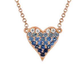Diamond and Sapphire Ombre Heart Necklace