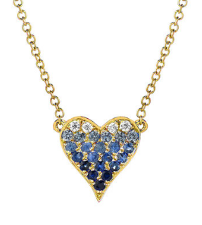 Small ombre heart necklace with diamonds and sapphires