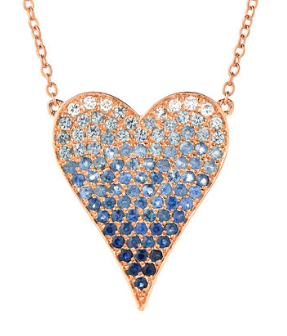 Blue Ombre Heart Necklace with Sapphires and Diamonds