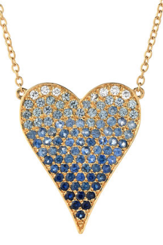 Gold Ombre Heart Necklace with Sapphires and Diamonds