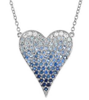 Blue Sapphire Ombre Heart Necklace