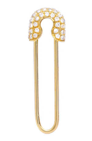 Gold safety pin earring with diamonds