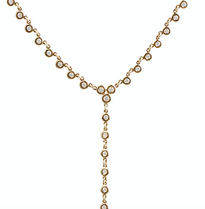 BEZEL SET DIAMOND LARIAT NECKLACE