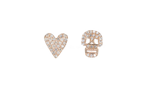DIAMOND  SKULL AND HEART EARRINGS