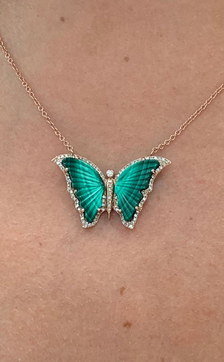 DIAMOND AND MALACHITE BUTTERFLY NECKLACE