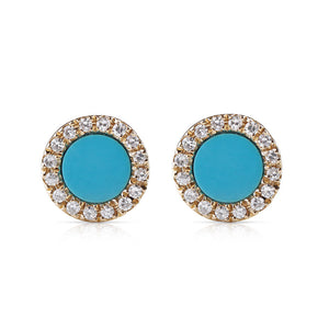 SMALL EMILY TURQUOISE DIAMOND STUDS