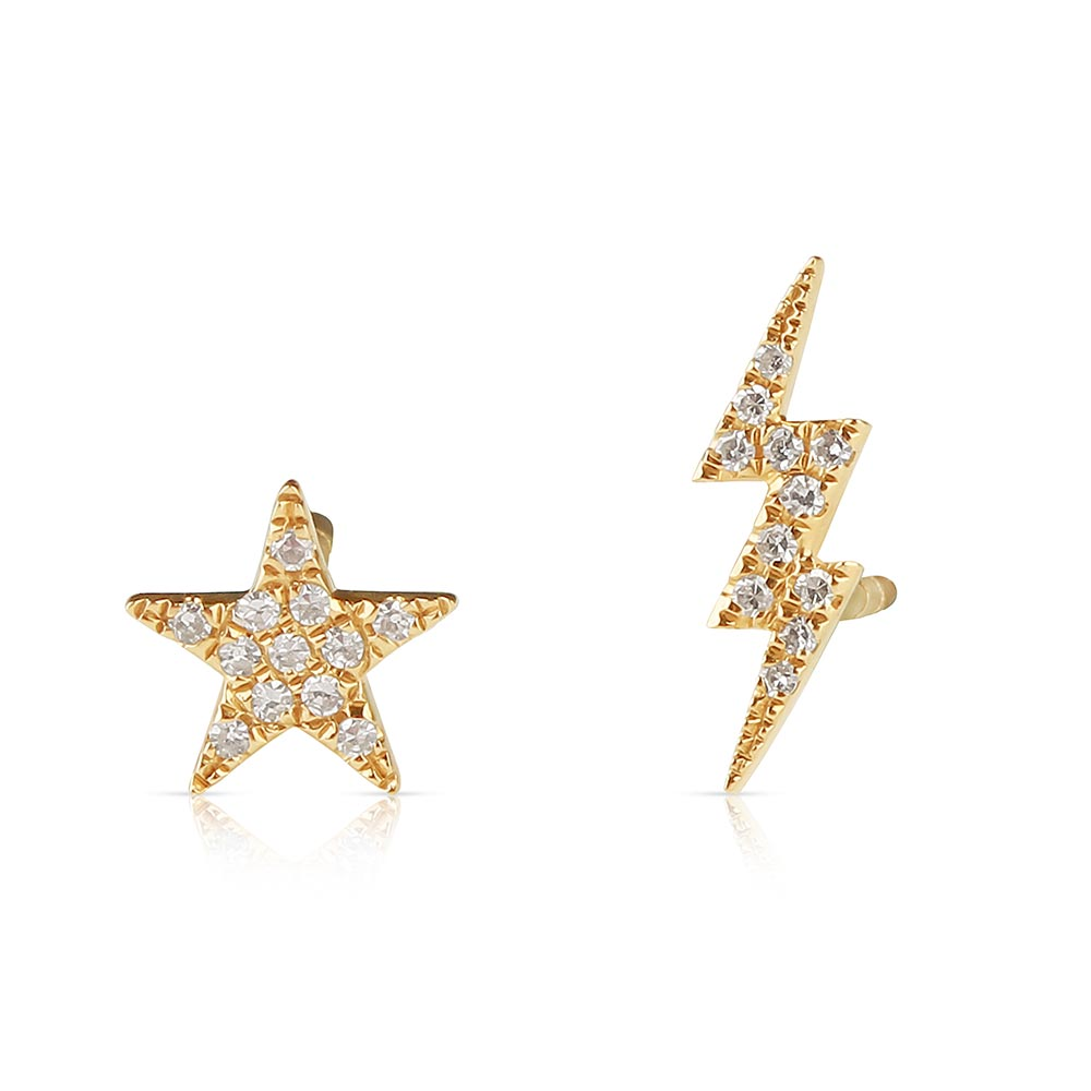Salt Fine Jewelry Diamond Star And Lightning Bolt Earrings