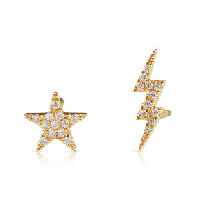 DIAMOND STAR AND LIGHTNING BOLT STUDS