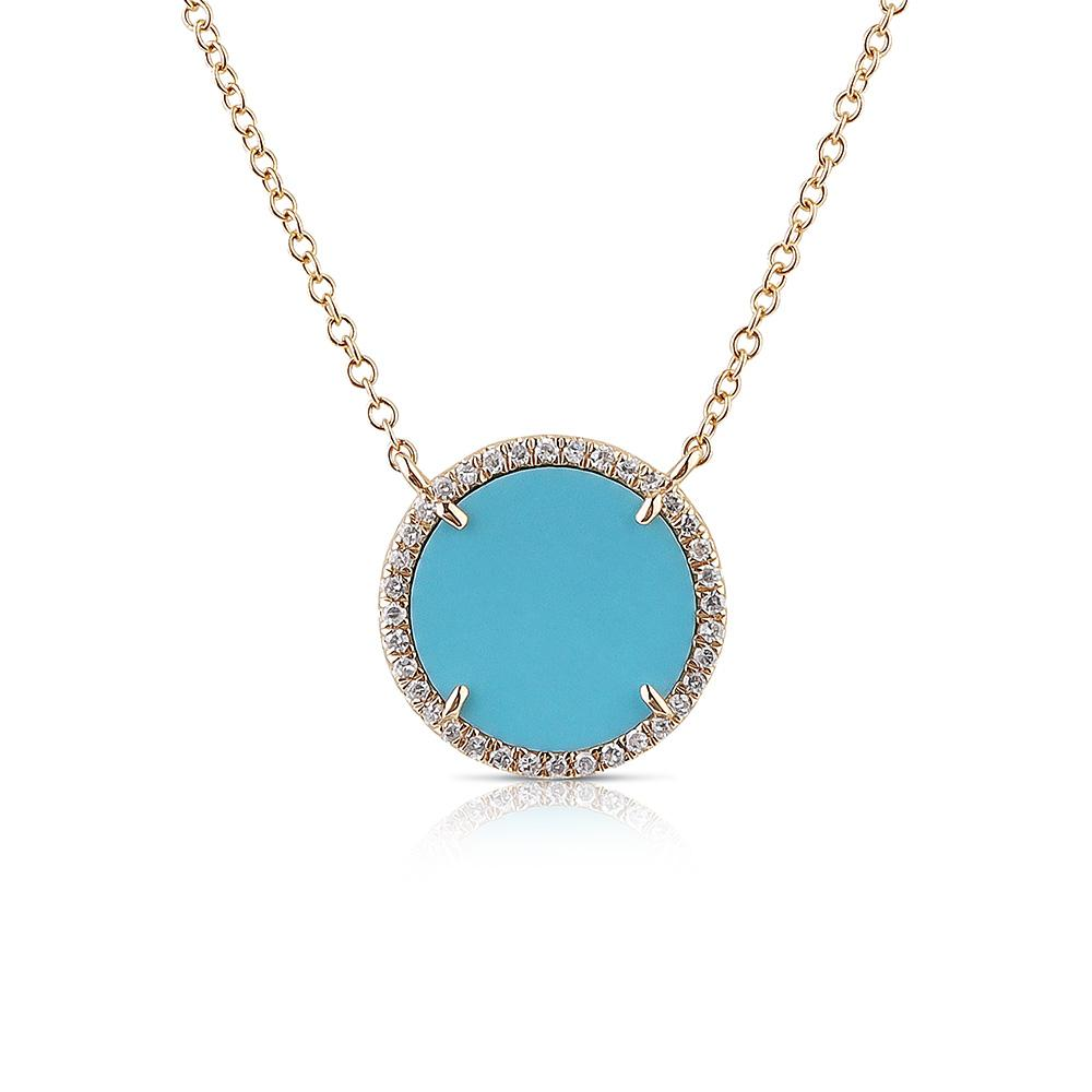 ROUND TURQUOISE AND DIAMOND NECKLACE