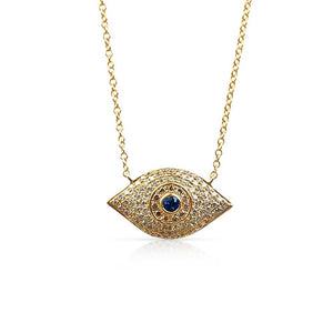 DIAMOND AND SAPPHIRE EVIL EYE NECKLACE