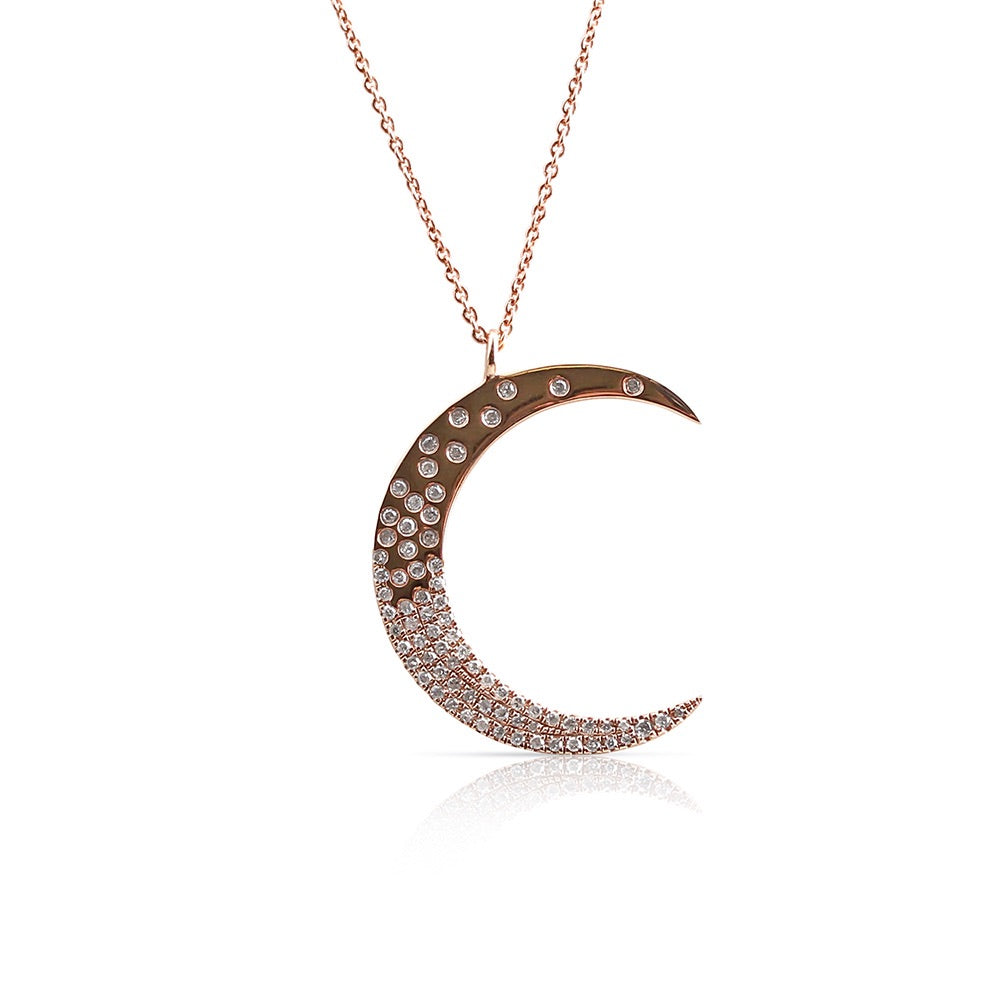 IN STOCK - CELESTIAL SCATTERED DIAMOND MOON NECKLACE