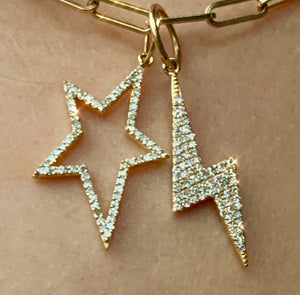SMALL DIAMOND LIGHTNING BOLT CHARM