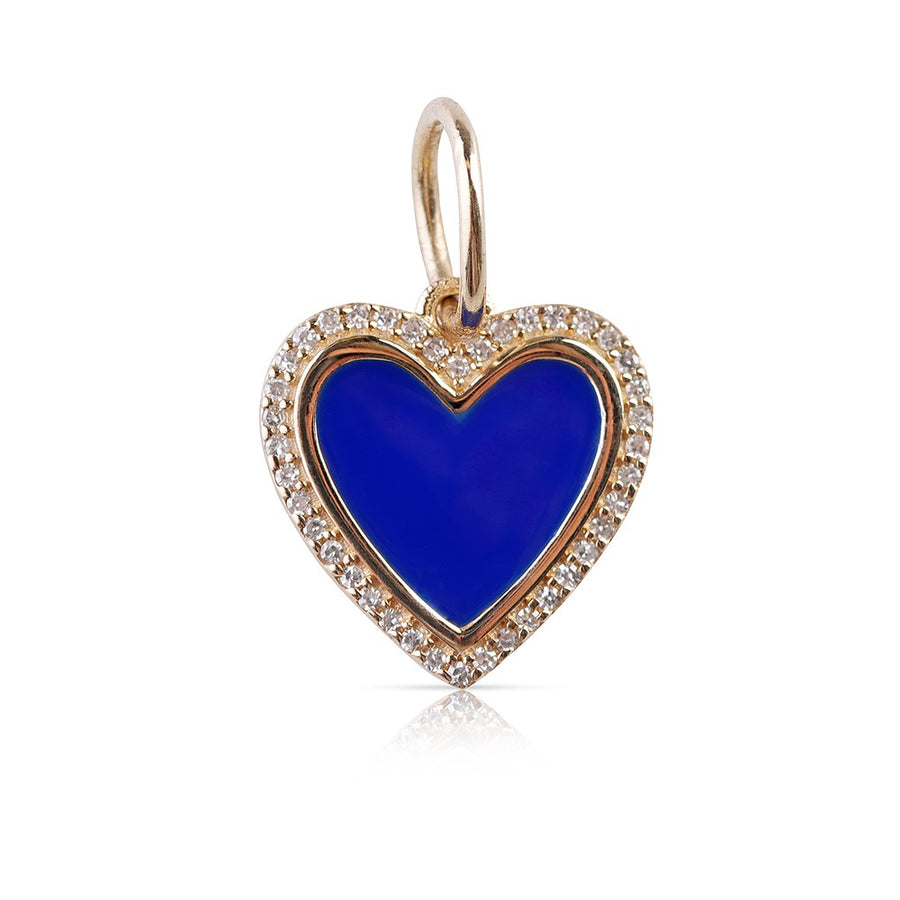 ENAMEL AND DIAMOND HEART CHARM