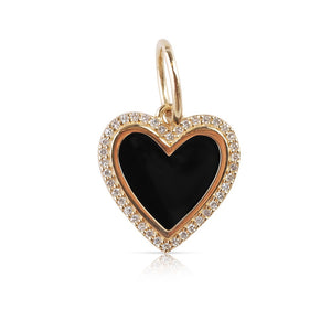 ENAMEL HEART CHARM WITH DIAMONDS