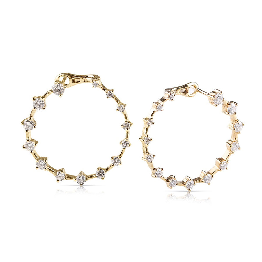 GRADUATED DIAMOND HOOP EARRINGS