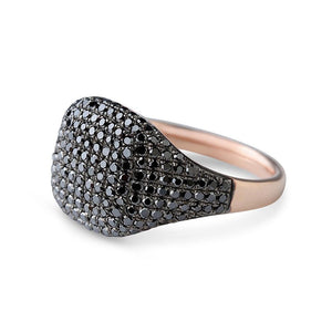 IN STOCK - BLACK DIAMOND CUSHION SIGNET RING SIZE 3.5