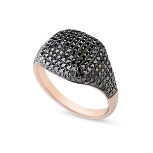 Black Diamond and Rose Gold Pinky Ring
