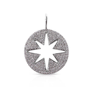 14K WHITE GOLD AND DIAMOND STAR CHARM