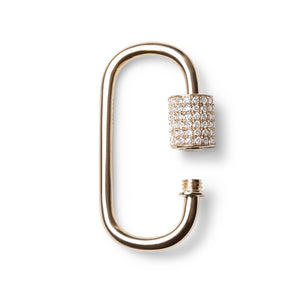 14K GOLD AND DIAMOND CARABINER LOCK