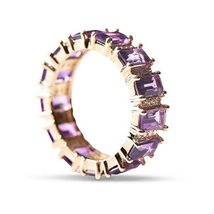 EMERALD CUT AMETHYST WITH DIAMONDS ETERNITY BAND RING