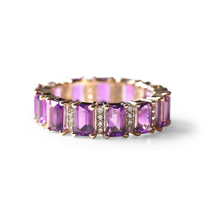 EMERALD CUT AMETHYST WITH DIAMONDS ETERNITY BAND