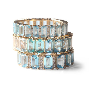 TOPAZ AND DIAMOND BAGUETTE CUT ETERNITY BAND