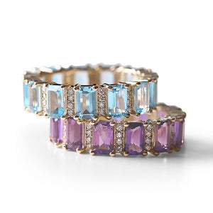AMETHYST AND DIAMOND EMERALD CUT ETERNITY BAND