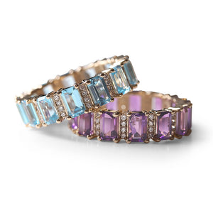 AMETHYST WITH DIAMONDS EMERALD CUT ETERNITY RING
