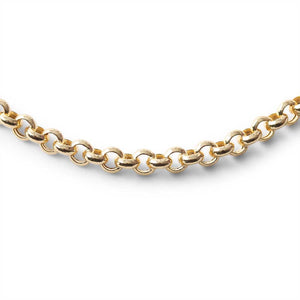 14K GOLD HOLLOW LINK ROLO CHAIN (3.8MM)