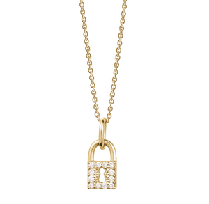 14k gold and diamond love lock necklace