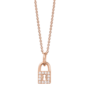 ROSE GOLD AND DIAMOND LOVE LOCK NECKLACE