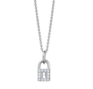 Solid 14k Gold and Diamond Love Lock Necklace
