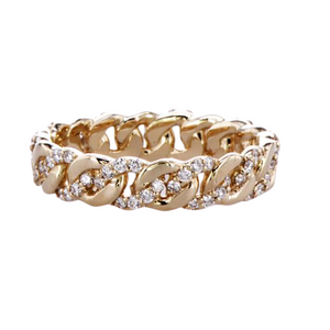 14K GOLD  CHAIN LINK RING WITH BRAIDED DIAMONDS
