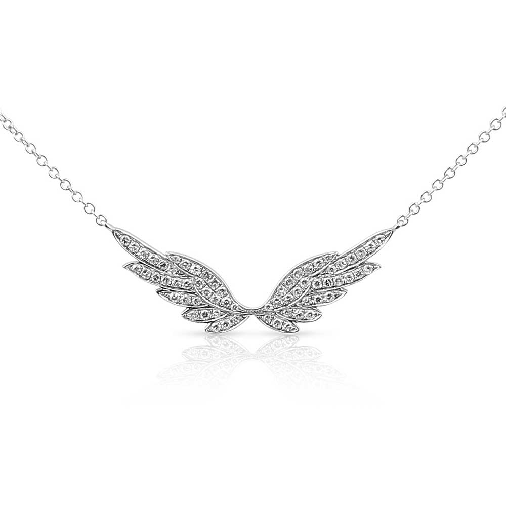 WHITE PAVÉ DIAMOND WITH WHITE GOLD ANGEL WING NECKLACE