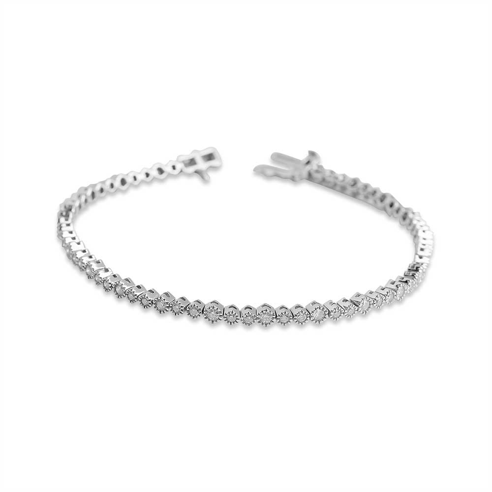 IN STOCK -  CLASSIC WHITE GOLD TENNIS BRACELET