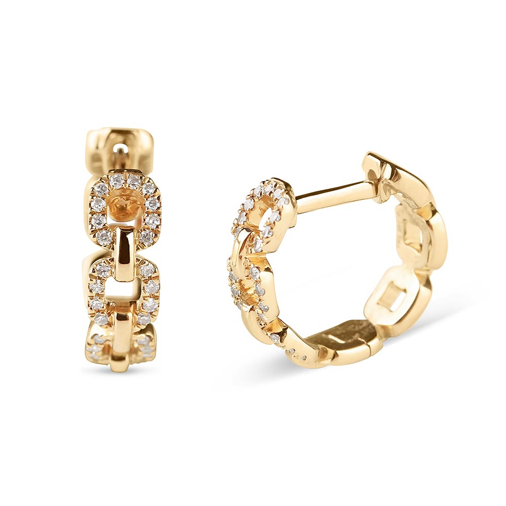 solid gold chain link earrings with diamonds