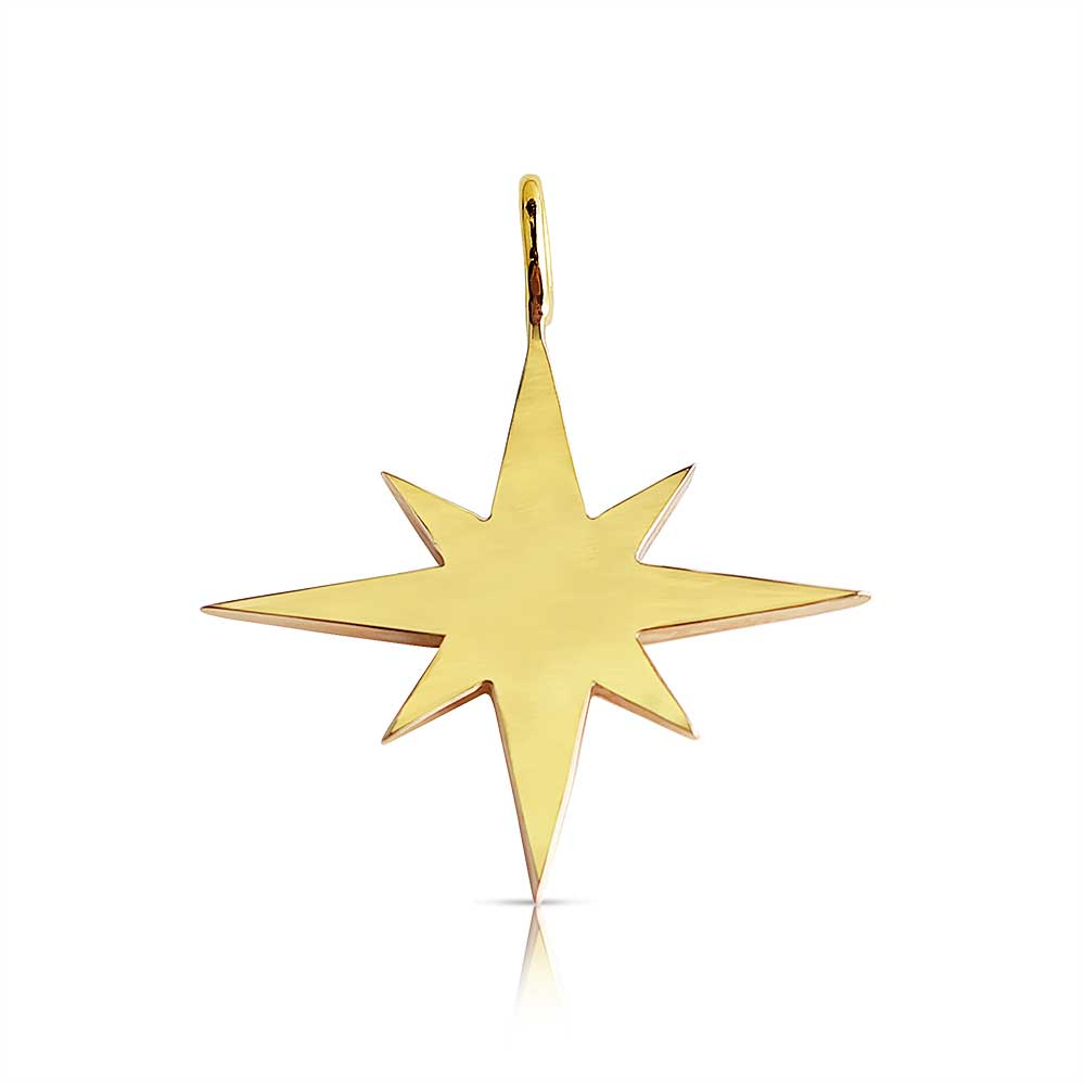 SOLID GOLD EIGHT POINT STAR CHARM