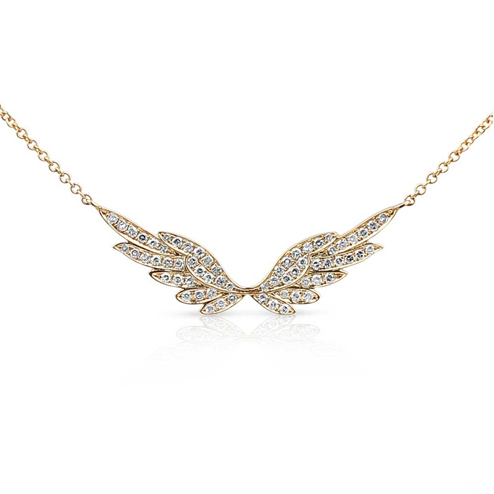 WHITE PAVÉ DIAMOND SET IN YELLOW GOLD ANGEL WING NECKLACE