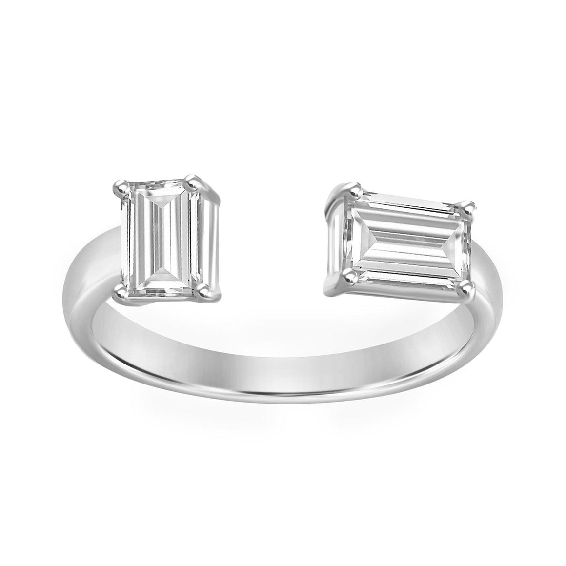 18K Yellow Gold Emerald Cut Mismatched Ring